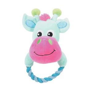 Жираф с кольцом, мягкая игрушка для собак, 17 см