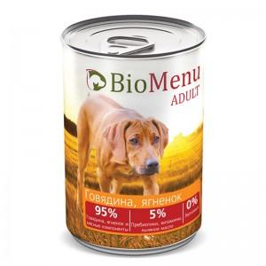 """Консервы для собак """"Говядина-Ягнёнок"""", BioMenu ADULT, 410 гр."""