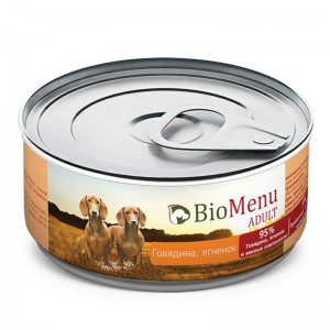 """Консервы для собак """"Говядина-Ягнёнок"""", BioMenu ADULT, 100 гр."""