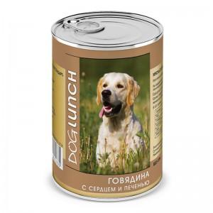"""Консервы для собак """"Говядина с Сердцем и Печенью"""", Dog Lunch, 410 гр."""