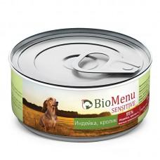"""Консервы для собак """"Индейка-Кролик"""", BioMenu SENSITIVE, 100 гр."""