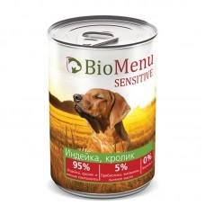 """Консервы для собак """"Индейка-Кролик"""", BioMenu SENSITIVE, 410 гр."""