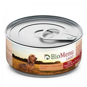 """Консервы для собак """"Индейка с коричневым рисом"""", BioMenu LIGHT, 100 гр."""