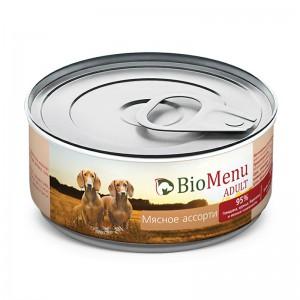 """Консервы для собак """"Мясное ассорти"""", BioMenu ADULT, 100 гр."""