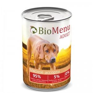 """Консервы для собак """"Мясное ассорти"""", BioMenu ADULT, 410 гр."""