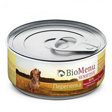"""Консервы для собак """"Перепелка"""", BioMenu SENSITIVE, 100 гр."""