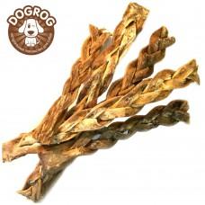 Натуральное лакомство для собак. Косички из кожи северного оленя сушёные, в упаковке - 100 гр.