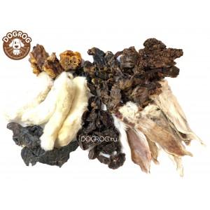 Набор лакомств из кролика: уши, лапы, лёгкое, шеи, печень, почки, 300 гр.