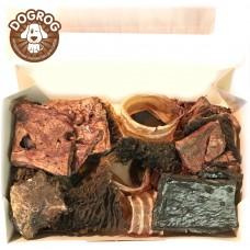 Натуральное лакомство для собак. Набор из говяжьих лакомств: вымя, рубец, печень, лёгкое, трахея, в упаковке - 150 гр.
