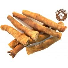 Натуральное лакомство для собак. Рулетики из кожи северного оленя сушёные, в упаковке - 100 гр.