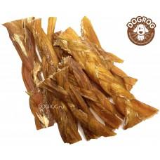 Натуральное лакомство для собак. Жилы-косички сушёные говяжьи, в упаковке - 100 гр.