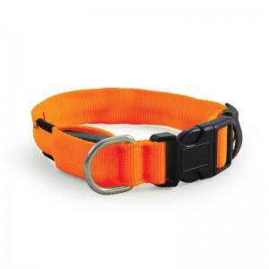 Ошейник нейлоновый светодиодный M, 31-41 см, оранжевый