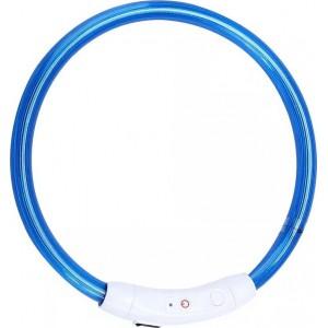 Ошейник средний светодиодный светящийся USB подзаряжаемый, синий, до 50 см