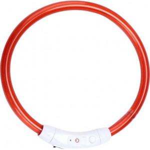 Ошейник средний светодиодный светящийся USB подзаряжаемый, красный, до 50 см