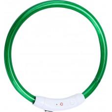 Ошейник светодиодный светящийся USB подзаряжаемый, зелёный, до 74 см