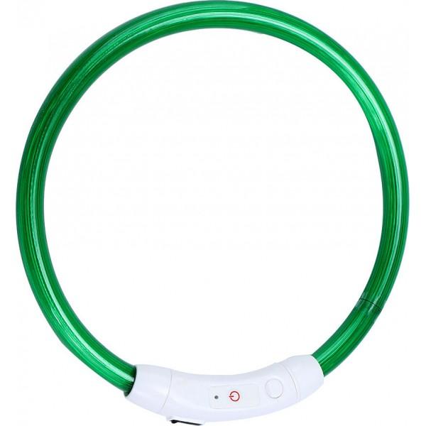 Ошейник светодиодный светящийся USB подзаряжаемый, зелёный, до 41 см