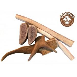 Набор из рогов северного оленя (чипсы, соломка, рога) для маленьких пород собак и щенков, 100 гр.