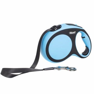 Рулетка Flexi New Comfort tape-лента M - для собак до 25 кг, 5 метров, чёрно-голубая