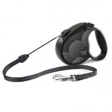 Рулетка Flexi Life Bubbles - трос M - для собак до 20 кг, 5 метров, чёрная.