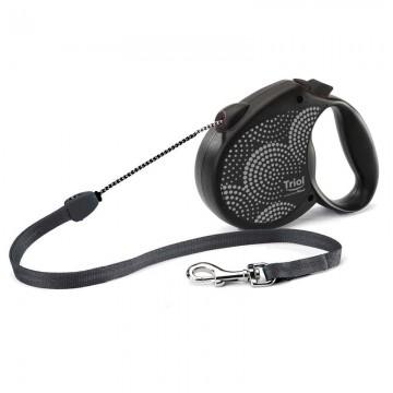 Рулетка Flexi Life Bubbles - трос M - для собак до 20 кг, 5 метров, чёрная