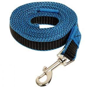 Поводок капроновый для собак, чёрно-синий, 25*5000мм